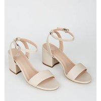 Girls Cream 2 Part Block Heel Sandals New Look
