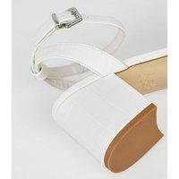 Girls White Faux Croc Block Heel Sandals New Look