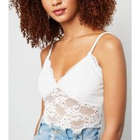 Pink Vanilla White Floral Lace Satin Bodysuit New Look