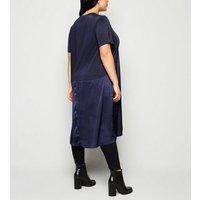 Blue Vanilla Curves Navy Contrast Hem Dress New Look