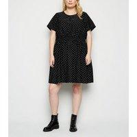 Curves Black Tile Print Mini Dress New Look