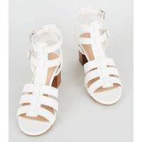 Girls White Faux Croc Gladiator Block Heel Sandals New Look
