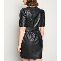 Curves Black Leather-Look Wrap Mini Dress New Look