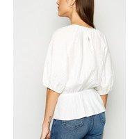 White Textured Puff Sleeve Peplum Top New Look