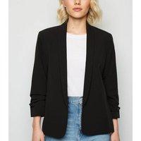 Petite Black Ruched Sleeve Blazer New Look
