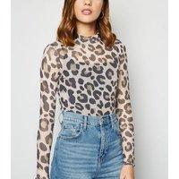 Brown Leopard Print Mesh Turtleneck Top New Look