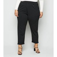 Curves Black Pinstripe Trousers New Look