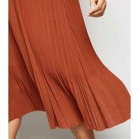 Curves Rust Chiffon Pleated Midi Skirt New Look
