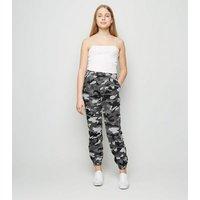 Girls Light Grey Camo Denim Joggers New Look