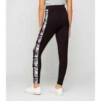 Girls Light Grey Camo Side Stripe Leggings New Look