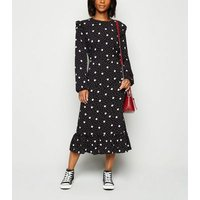 Petite Black Spot Ruffle Shoulder Midi Dress New Look