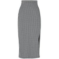 Tall Black Dogtooth Side Split Midi Pencil Skirt New Look