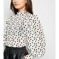Petite Cream Flocked Spot Mesh Puff Sleeve Top New Look