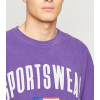 Men's Lilac Overdyed Sportswear Slogan T-Shirt New Look
