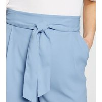 Pale Blue Belted High Waist Shorts New Look