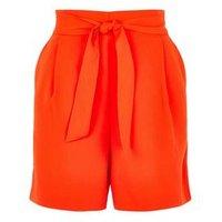 Bright Orange Belted High Waist Shorts New Look