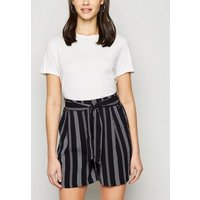 Black Stripe Belted Shorts New Look
