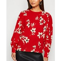 Petite Red Floral Puff Sleeve Blouse New Look