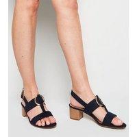 Navy Suedette Ring Block Heel Sandals New Look
