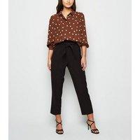 Petite Brown Spot Dip Hem Long Sleeve Shirt New Look