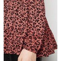 Pink Leopard Print Long Sleeve Peplum Top New Look