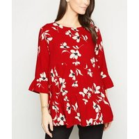 Maternity Red Floral Tiered Peplum Blouse New Look