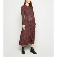 Maternity Red Floral Long Sleeve Midi Dress New Look