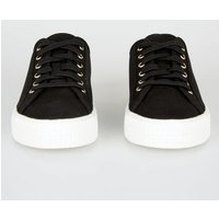 Black Canvas Stud Back Lace Up Trainers New Look