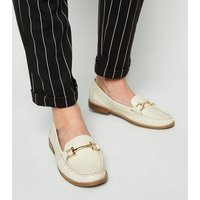 Off White Leather Bar Front Loafers New Look