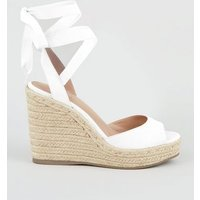 White Leather-Look Ankle Tie Espadrille Wedges New Look Vegan