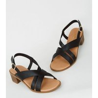 Wide Fit Black Cross Strap Block Heel Sandals New Look Vegan