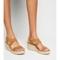 Wide Fit Tan Suedette Elasticated Espadrille Wedges New Look