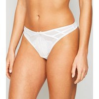 White Mesh and Lace Strappy Thong New Look