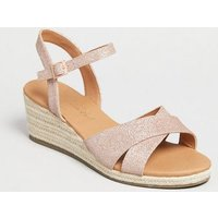 Wide Fit Rose Gold Glitter Cross Strap Wedges New Look Vegan