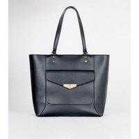 Black Leather-Look Pocket Front Tote Bag New Look Vegan