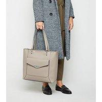 Grey Leather-Look Pocket Front Tote Bag New Look Vegan