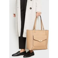 Camel Leather-Look Pocket Front Tote Bag New Look Vegan