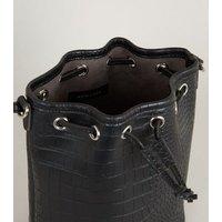 Black Faux Croc Drawstring Bucket Bag New Look Vegan