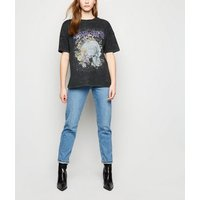 Noisy May Black Acid Wash Slogan Rock T-Shirt New Look