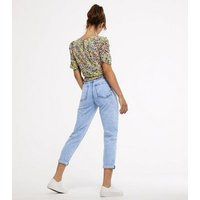 Bright Blue Waist Enhance Tori Mom Jeans New Look