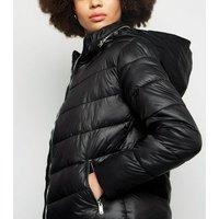 Parisian Black High Shine Leather-Look Puffer Coat New Look