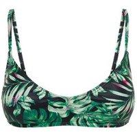 Green Tropical Crop Bikini Top New Look