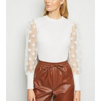 Cameo Rose White Spot Organza Sleeve Top New Look