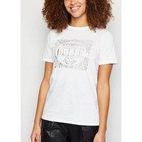 White Metallic La Vie Est Belle Slogan T-Shirt New Look