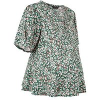 Maternity Green Floral Peplum Blouse New Look