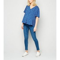 Maternity Blue Floral Peplum Blouse New Look