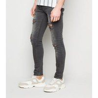 Dark Grey Ripped Super Skinny Jeans New Look