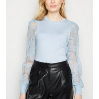 Pale Blue Squiggle Mesh Sleeve Jumper New Look