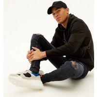 Men's Black Ripped Super Skinny Jeans New Look