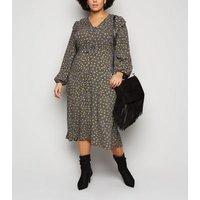 Curves Black Spot Frill Trim Midi Dress New Look